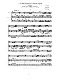 10 Concertos for Violin, Strings and Cembalo, Op.7: Concerto No.5. Version for violin and cembalo (or piano), RV 354 by Antonio Vivaldi
