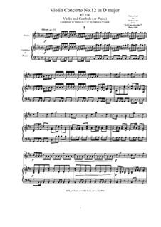 10 Concertos for Violin, Strings and Cembalo, Op.7: Concerto No.12. Version for violin and cembalo (or piano), RV 214 by Antonio Vivaldi