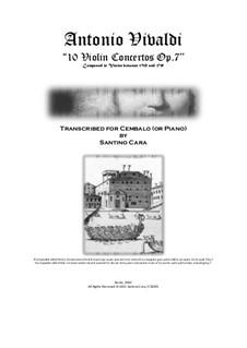 10 Concertos for Violin, Strings and Cembalo, Op.7: Version for violin and cembalo (or piano) - scores and solo parts by Antonio Vivaldi