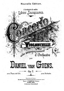 Concerto for Cello and Orchestra No.1 in A Minor, Op.7: Score for cello and piano by Daniel Van Goens