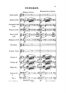 Concerto in G Major for Violin and Orchestra, Op.22: Full score by Hermann Goetz