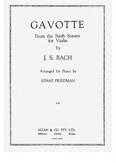 Sonata for Violin and Harpsichord No.6 in G Major, BWV 1019: Gavotte, for piano by Johann Sebastian Bach