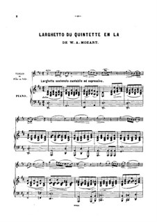 Quintet for Clarinet and Strings in A Major, K.581: Movement II. Arrangement for violin (or cello, or flute) and piano by Wolfgang Amadeus Mozart