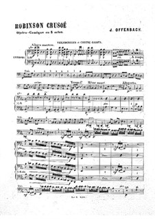 Robinson Crusoé: Cello and double bass part by Jacques Offenbach