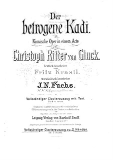 Le cadi dupé (The Duped Judge): Piano score by Christoph Willibald Gluck