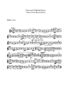 Dance of the Blessed Spirits: French horns parts by Christoph Willibald Gluck