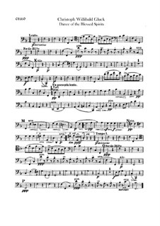 Dance of the Blessed Spirits: Cello part by Christoph Willibald Gluck