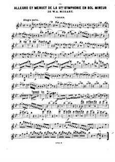 Fragments: Movements I, III, for violin, cello and piano – violin part by Wolfgang Amadeus Mozart