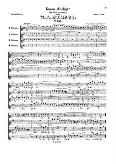 Alleluia, K.553: Vocal score by Wolfgang Amadeus Mozart