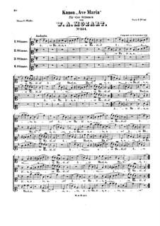 Ave Maria, KV 554: Vocal score by Wolfgang Amadeus Mozart