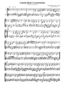 Captain Hume's Lamentations: Für Klarinette und Bassklarinette by Tobias Hume