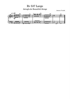 Concerto for Two Trumpets and Strings in C Major, RV 537: Largo, for piano by Antonio Vivaldi