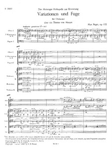 Variations and Fugue on Theme by Mozart for Orchestra, Op.132: Full score by Max Reger