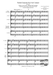 Six Concertos for Violin, Strings and Cembalo, Op.11: Concerto No.5 in C minor, RV 202 by Antonio Vivaldi