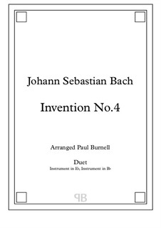 No.4 in D Minor, BWV 775: For duet: instruments in Eb and Bb - score and parts by Johann Sebastian Bach