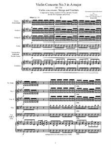 Six Concertos for Violin, Strings and Cembalo, Op.11: Concerto No.3 in A major, RV 336 by Antonio Vivaldi