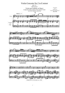 Six Concertos for Violin, Strings and Cembalo, Op.11: Concerto No.2 in E minor 'Il Favorito' for Violin and Cembalo (or Piano), RV 277 by Antonio Vivaldi