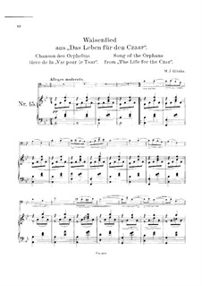 Song of the Orphan: For cello and piano by Mikhail Glinka