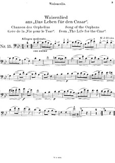 Song of the Orphan: For cello and piano – solo part by Mikhail Glinka