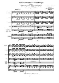 Six Concertos for Violin, Strings and Cembalo, Op.11: Concerto No.1 in D major, RV 207 by Antonio Vivaldi