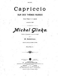 Capriccio on Russian Themes: For piano four hands – parts by Mikhail Glinka