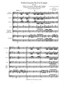 Six Concertos for Violin, Strings and Cembalo, Op.11: Concerto No.4 in G major, RV 308 by Antonio Vivaldi