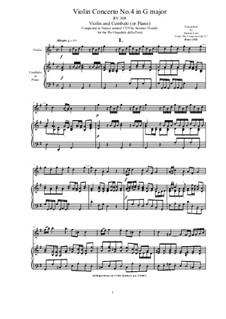 Six Concertos for Violin, Strings and Cembalo, Op.11: Concerto No.4 in G major for Violin and Cembalo (or Piano), RV 308 by Antonio Vivaldi