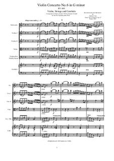 Six Concertos for Violin, Strings and Cembalo, Op.11: Concerto No.6 in G minor, RV 460 by Antonio Vivaldi