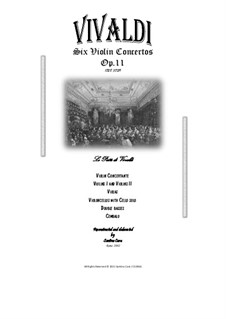 Six Concertos for Violin, Strings and Cembalo, Op.11: Full score and parts by Antonio Vivaldi