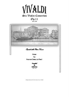 Six Concertos for Violin, Strings and Cembalo, Op.11: Version for violin and cembalo (or piano) - full score and parts by Antonio Vivaldi