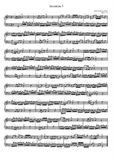 No.5 in E Flat Major, BWV 776: For piano by Johann Sebastian Bach