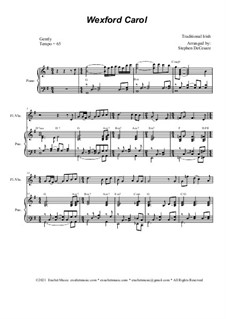 Wexford Carol: For flute or violin solo and piano by folklore
