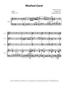 Wexford Carol: For saxophone quartet and piano by folklore