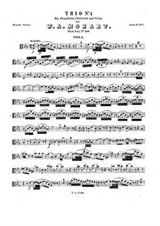 Trio for Clarinet, Viola (or Violin) and Piano in E Flat Major 'Kegelstatt', K.498: Viola part by Wolfgang Amadeus Mozart