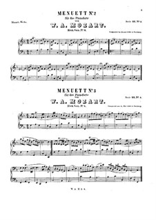Two Minuets for Piano, K.4, K.2: For a single performer by Wolfgang Amadeus Mozart