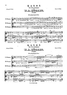 Canon for Three Voices, K.507, K.508: Canon for Three Voices by Wolfgang Amadeus Mozart