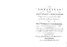 Six Sonatinas for Violin and Piano (or Harpsichord): Complete set by Tommaso Giordani