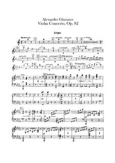 Concerto for Violin and Orchestra in A Minor, Op.82: Harp part by Alexander Glazunov
