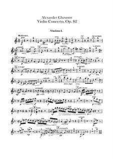 Concerto for Violin and Orchestra in A Minor, Op.82: Violins I part by Alexander Glazunov