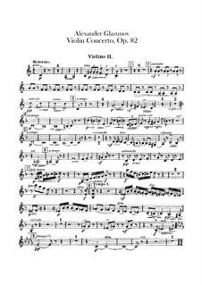 Concerto for Violin and Orchestra in A Minor, Op.82: Violins II part by Alexander Glazunov