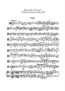 Concerto for Violin and Orchestra in A Minor, Op.82: Violas part by Alexander Glazunov