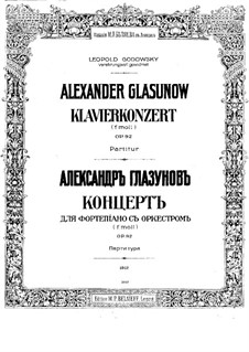 Concerto for Piano and Orchestra No.1 in F Minor, Op.92: Movement I by Alexander Glazunov