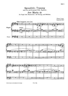 Ave Maria III, S.60: Ave Maria III by Franz Liszt