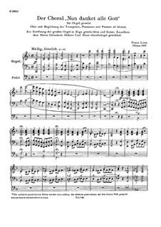 Nun danket alle Gott, S.61: Nun danket alle Gott by Franz Liszt