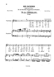 Der Zauberer, K.472: For voice and piano by Wolfgang Amadeus Mozart