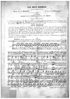 Les deux aveugles (The Two Blind Men): Piano-vocal score by Jacques Offenbach