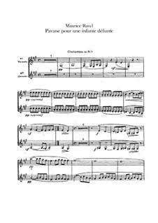 Pavane pour une infante défunte (Pavane for a Dead Princess), M.19: For orchestra – clarinets part by Maurice Ravel