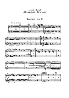 Miroirs for Orchestra, M.43a: Movement IV Alborada del gracioso – trumpets part by Maurice Ravel
