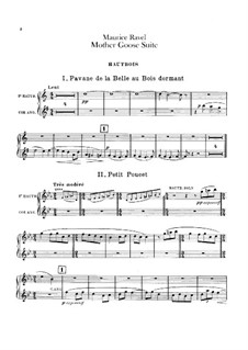 Ma mère l'oye (Mother Goose). Suite, M.60: For orchestra – oboes and cor anglais part by Maurice Ravel