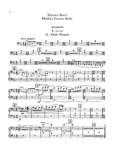 Ma mère l'oye (Mother Goose). Suite, M.60: For orchestra – bassoons parts by Maurice Ravel